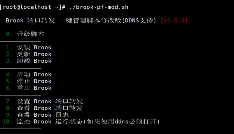 Brook端口转发 一键管理脚本,支持DDNS - 修改版 - 已配置国内外加速