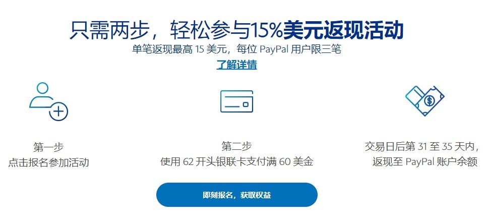 Paypal老用户用银联卡支付 满60美元返现15%,最多15美元-主机优惠
