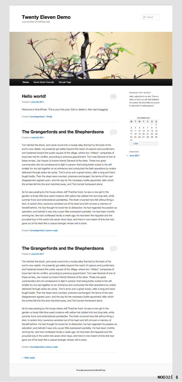 2011 with sidebar Twenty Eleven Child Theme for WordPress